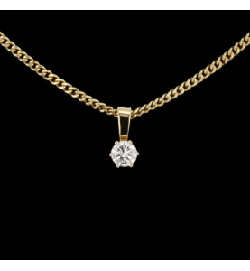 Collier Solitaire Or Jaune 0.45 carats