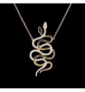 Collier Messika or jaune Snake diamants