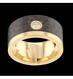 Ring Yellow Gold Carbon Diamonds 0.10 Carats