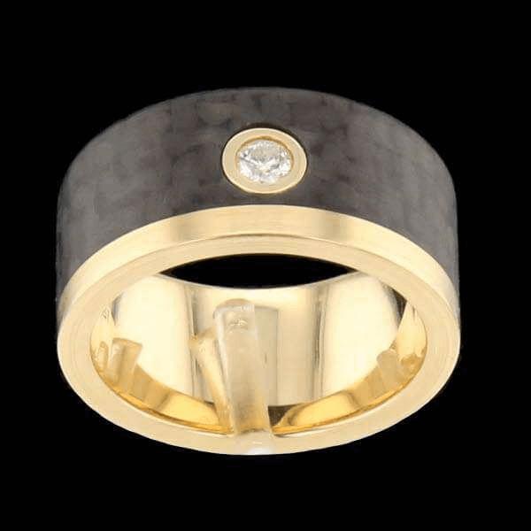 Bague Or Jaune Carbone Diamants 0.10 Carats