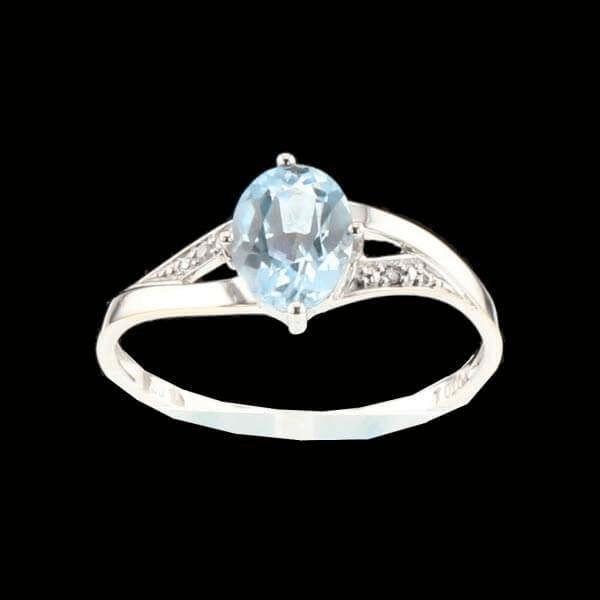 Bague en or gris aigue marine diamants