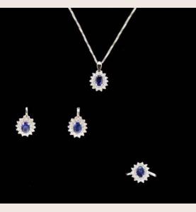 Sapphire grey gold adornment and diamonds