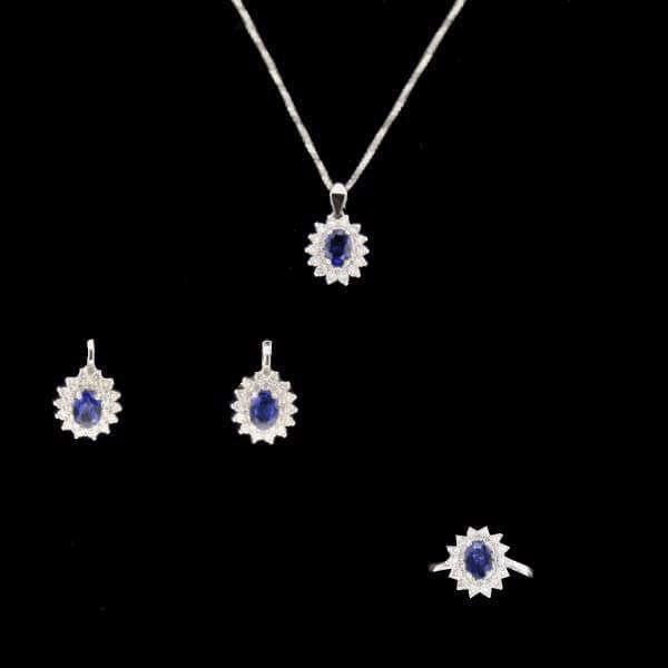 Parure or gris saphir et diamants