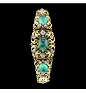 Emeralds and diamond yellow gold bracelet