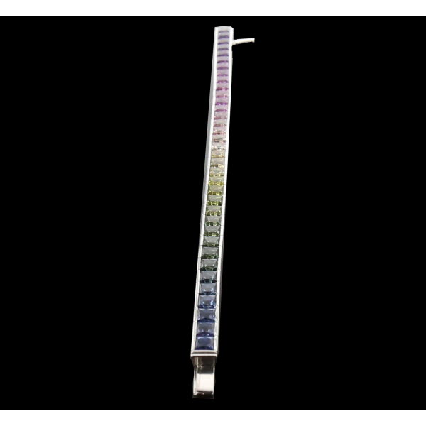 Bracelet Or gris saphirs Rainbow