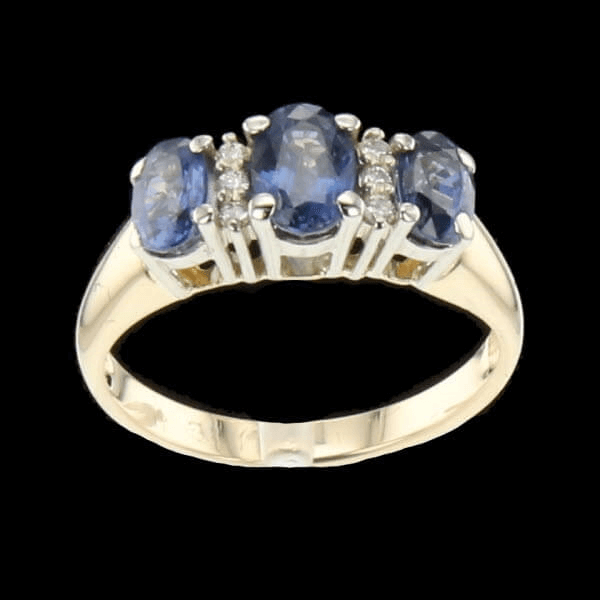 Bague Or Bicolore Diamants Saphirs