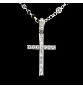 Halskette Kreuz gold grau und Diamanten