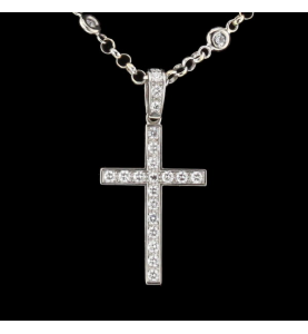 Necklace cross white gold and diamonds