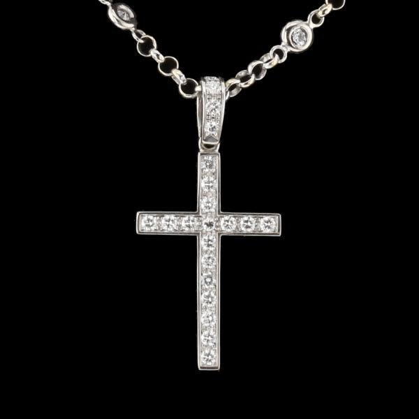 Collier croix or gris et diamants
