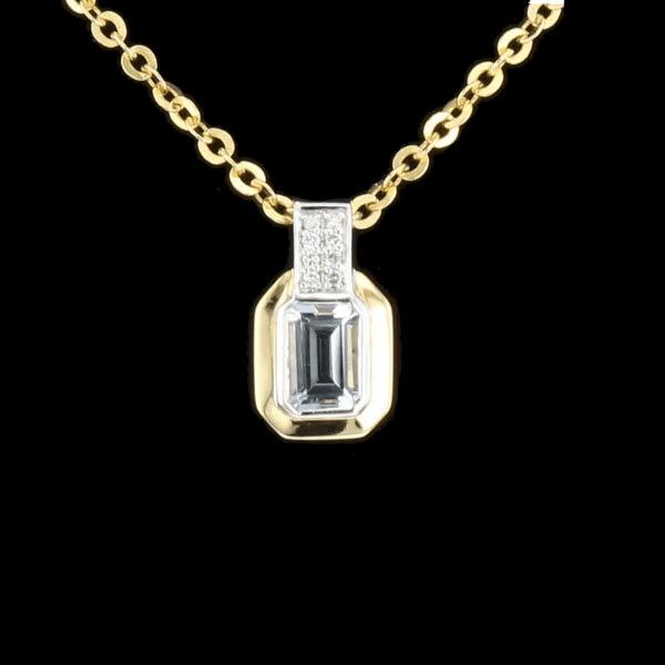 Collier or jaune aigue marine et diamants