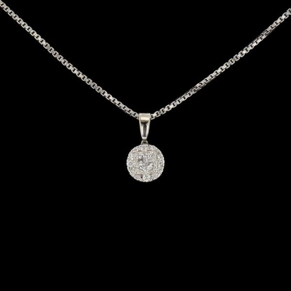 Collier or gris diamants de 0.20 carats