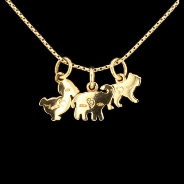 Collier / pendentifs éléphant, canard et chien