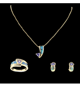 Yellow Gold Adornment Tanzanites, Opals, Diamonds