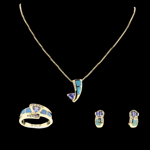 Parure Or jaune  Tanzanites, Opales, Diamants