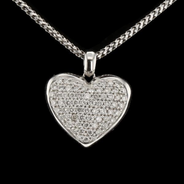 Collier et pendentif cœur or diamants