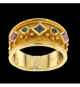 Ring Yellow gold sapphire, rubies, emeralds