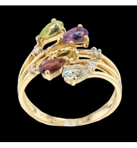 Ring Gelbgold Topaze Diamanten