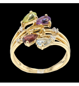 Yellow Gold Ring Topaz...