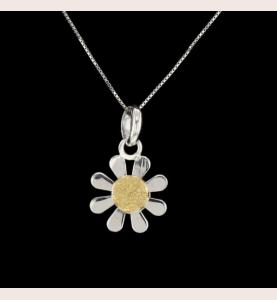 Blume Halskette aus grauem...