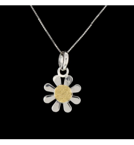 Collier Fleur en or gris et...