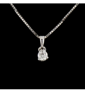 Collier solitaire or gris...