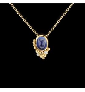 Collier or jaune saphir cabochon et diamants