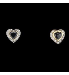Boucles d'oreille cœur saphir et diamants