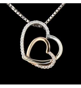 Collier double cœur