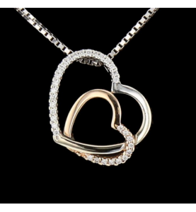 Double heart necklace rose...