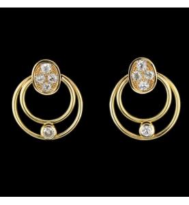 Boucles Double Cercle Or jaune et Diamants