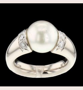 Bague Or gris perle et diamants