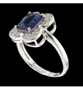 Silber Ring blauer Stein