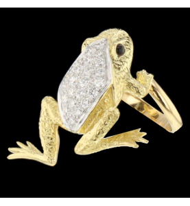 Frog ring yellow gold sapphire and diamonds