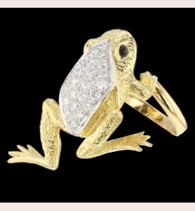 Ring Frosch Gold Saphir gelb und Diamanten