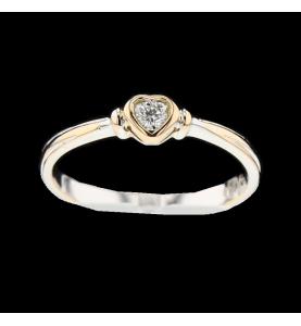 Bague coeur 2 ors diamant