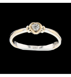 Herzring 2 Gold Diamant