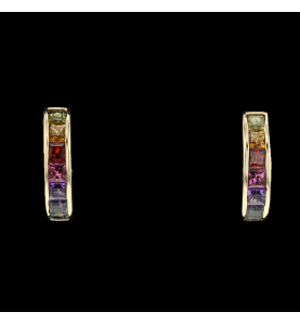 Buckles yellow gold synthetic stones