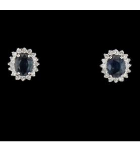 Diamond and sapphire white gold