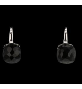 Onyx grey gold earrings