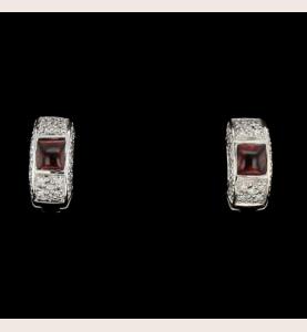 Earrings white gold Diamonds and Garnet
