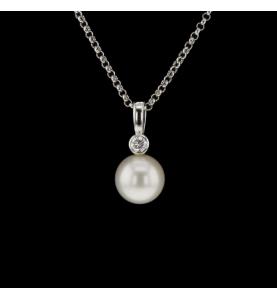 Collier or gris Perle et diamants