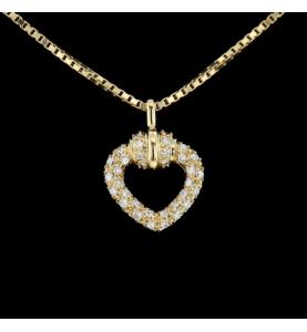 Collier coeur or jaune diamants