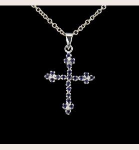 Collier pendentif Croix Or Gris et Saphirs