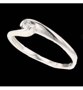 Bague Or gris diamant 0.06 carats