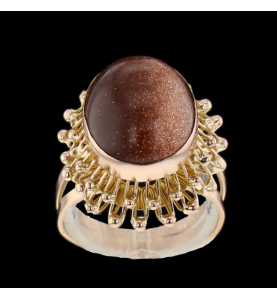 Ring Yellow gold synthetic...