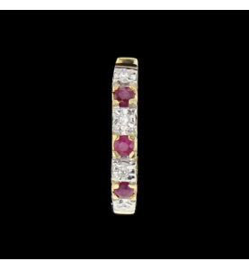 Earrings Yellow Gold Diamonds and Rubies