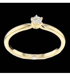 Solitaire Gelbgold Diamant 0.16 Karat