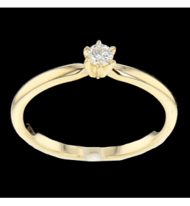 Solitaire Yellow Gold Diamond 0.16 Carats