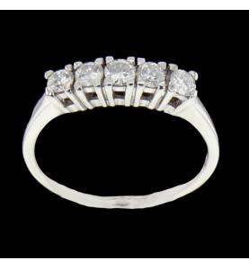Bague Or gris 5 Diamants