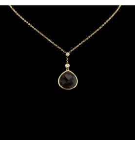 Yellow gold necklace Smoky quartz